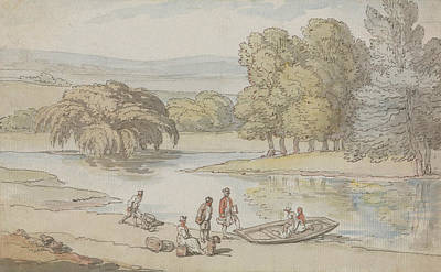 Drawing - Figures By A Ferry by Thomas Rowlandson