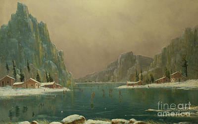 Winter Cabin Painting - Figures Ice Skating On A Lake by Nils Hans Christiansen