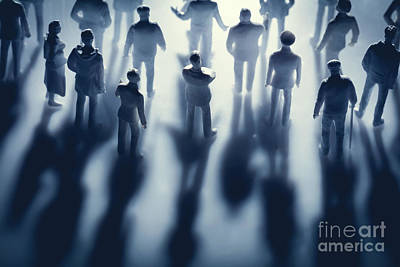 Photograph - Figures Of People And Their Shadows by Michal Bednarek