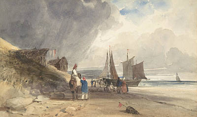 Drawing - Figures On A Beach, Northern France by Thomas Shotter Boys