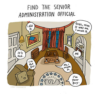 President Drawing - Find The Senior Administration Official by Lizzy Itzkowitz