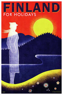 Royalty-Free and Rights-Managed Images - Finnish State Railways - Finland for Holidays - Retro Travel Poster - Vintage Poster by Studio Grafiikka