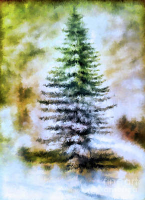 Painting - Fir Tree In Winter  by Elaine Manley
