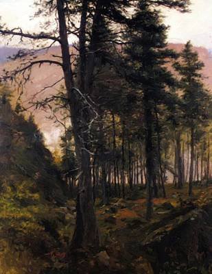 Joseph Farquharson Wall Art - Painting - Fir Trees In The Glen by Farquharson Joseph