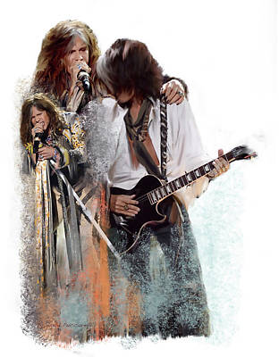 Painting -  Fire And Lightning Steven Tyler And Joe Perry Aerosmith by Iconic Images Art Gallery David Pucciarelli