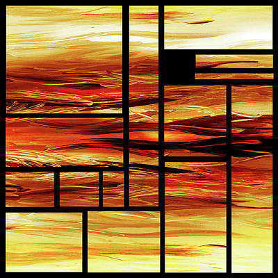 Painting - Fire Bright Vivid Geometry Blocks Abstract  by Irina Sztukowski
