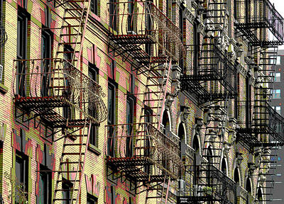 City Sunset Mixed Media - Fire Escapes New York City by Charles Shoup