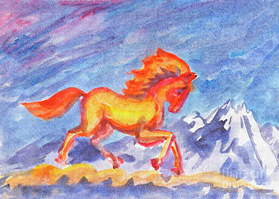 Painting - Fire Horse In The Clouds by Dobrotsvet Art