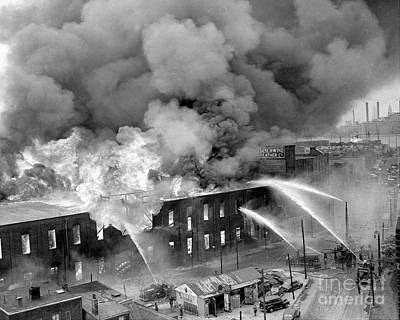 Photograph - Fire In Greenpoint, Brooklyn. As Flames by New York Daily News Archive