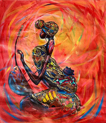 Painting - Fire Music by James Nii Addo