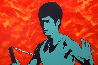 Bruce Lee Wall Art - Painting - Fire Of The Dragon by Brian Broadway