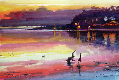 Animals Paintings - Fire on Shore  by Steve Henderson