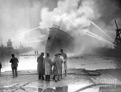 Photograph - Fireboats Attend To The Burning S.s by New York Daily News Archive