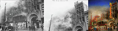 Photograph - Firefighter - Fire Sale Today Only 1916 - Side By Side by Mike Savad