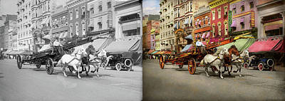 Photograph - Firefighter - Moving With Urgency 1914 - Side By Side by Mike Savad