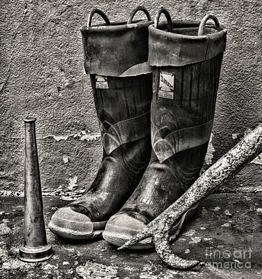 First Responders Wall Art - Photograph - Fireman-after The Fire In Black And White by Paul Ward