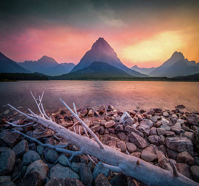 Photograph - Firery Summer Night / Many Glacier, Glacier National Park  by Nicholas Parker