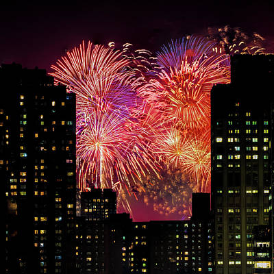 Photograph - Fireworks In New York City by Chris Lord