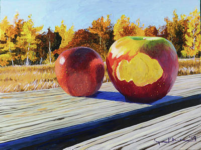 Painting - First Apples From The Orchard by Lynn Hansen