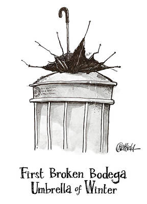 Cod Drawing - First Broken Bodega Umbrella Of Winter by Jason Chatfield
