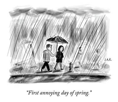 Drawing - First Day Of Spring by Jason Adam Katzenstein