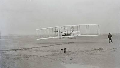 Painting - First Flight  120 Feet In 12 Seconds  10 35 A M   Kitty Hawk North Carolina 1903 by Celestial Images