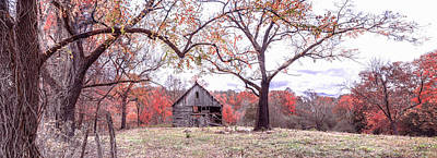 Photograph - First Frost Vintage Barn In The Smokies Panorama by Debra and Dave Vanderlaan
