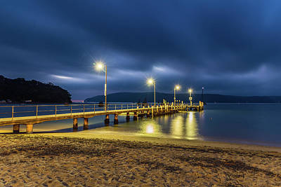 Photograph - First Light Waterscape With Starbursts  Lights On The Wharf by Merrillie Redden