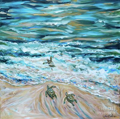Painting - First Plunge Baby Sea Turtles by Linda Olsen