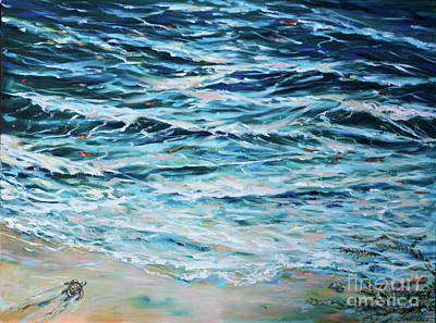 Painting - First Plunge Baby Turtle by Linda Olsen