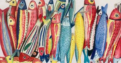 Animals Drawings - Fish Fest by Glenda Zuckerman