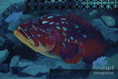 Animals Royalty-Free and Rights-Managed Images - Fish Mural Fuerteventura Spain by Eddie Barron