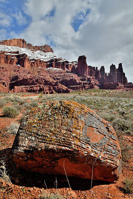 Photograph - Fisher Towers And Colorful Boulder In Utah's Castle Valley by Ray Mathis