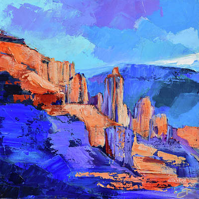 Painting - Fisher Towers Light And Shadow - Moab  by Elise Palmigiani