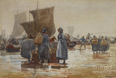 Painting - Fisherfolk On The Beach At Cullercoats, 1881 by Winslow Homer