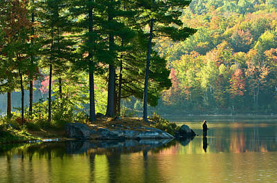 Gatineau Park Photograph - Fisherman In Early Morning, Lac Taylor by Glenn Davy