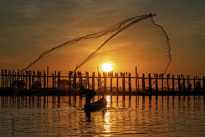 Photograph - Fisherman On Taungthaman Lake by Chris Lord