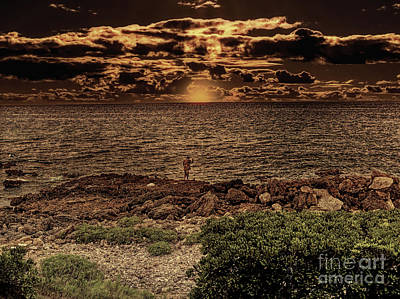 Photograph - Fisherman On The Rocks by Leigh Kemp