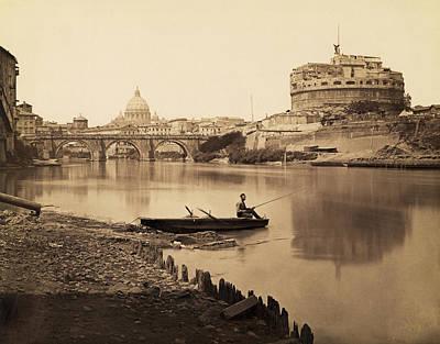 Photograph - Fisherman On The Tiber River by Bettmann