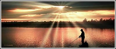Photograph - Fisherman, Spiritual Sunset Above A Mountain Lake by A Gurmankin