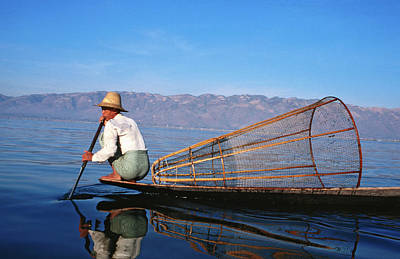Oar Photograph - Fisherman With Net On Lake by Sara-jane Cleland