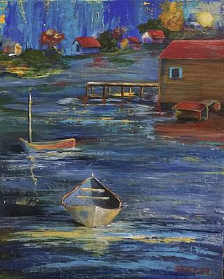 Flounder Painting - Fishermen's Retreat by Jane Ricker