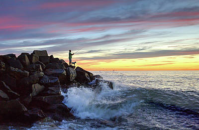 California Wall Art - Photograph - Fishing At Sunset by Ann Patterson