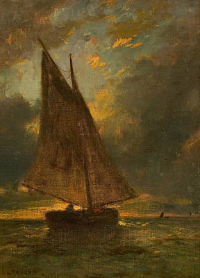 Painting - Fishing Boat At Sea by Constant Troyon