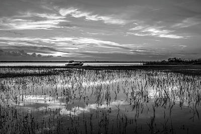 Photograph - Fishing Boat At The Lake In Black And White by Debra and Dave Vanderlaan