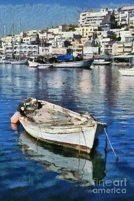 Painting - Fishing Boat In Mikrolimano Port by George Atsametakis
