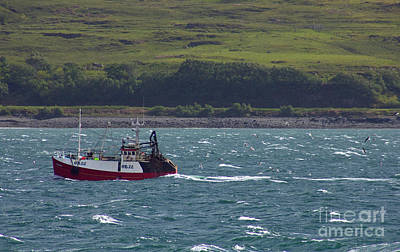 Food And Flowers Still Life - Fishing boat in the Sound of Mull Inner Hebrides of Scotland by Jonathan Mitchell