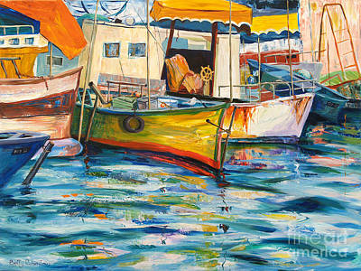 Painting - Fishing boats in Jaffo by Betty Rubinstein