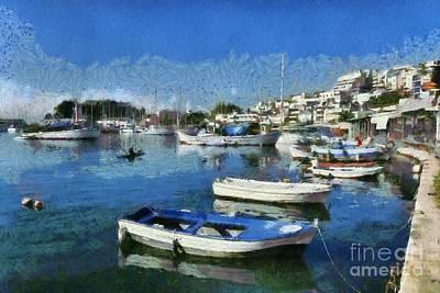 Painting - Fishing Boats In Mikrolimano Port by George Atsametakis