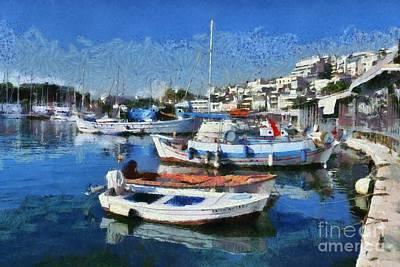 Painting - Fishing Boats In Mikrolimano Port II by George Atsametakis